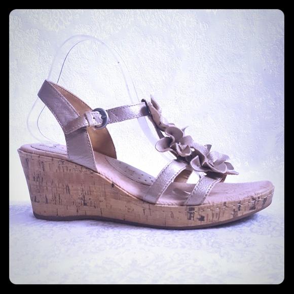 4133b8448f360 Born Shoes   Champagne Leather Cork Wedge Sanda   Poshmark